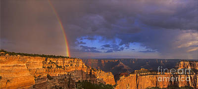 Poster featuring the photograph Panorama Rainbow Over Cape Royal North Rim Grand Canyon National Park by Dave Welling