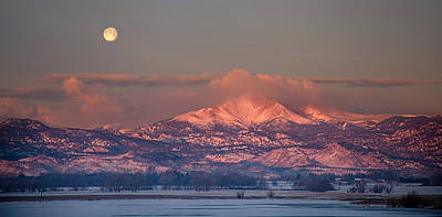 Panorama Scenic Landscape Rocky Mountain Moon Set View  Poster by James BO  Insogna