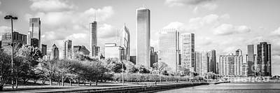 Panoramic Chicago Skyline Black And White Photo Poster by Paul Velgos