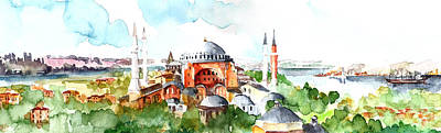 Poster featuring the painting Panoramic Hagia Sophia In Istanbul by Faruk Koksal