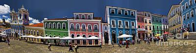 Panoramic Of Salvador Brazil Street Scene Poster by David Smith