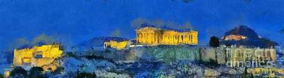Panoramic Painting Of Acropolis In Athens Poster