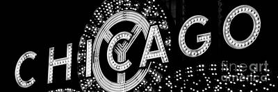 Panoramic Photo Of Chicago Theatre Sign In Black And White Poster