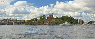 Panoramic Seascape With Castle Stockholm Sweden Poster by Marianne Campolongo
