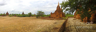 Poster featuring the photograph Panoramic View Next To Dhammayazika Pagoda Built In 1196 By King Narapatisithu by Ralph A  Ledergerber-Photography