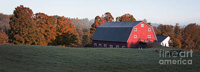 Panoramic View Of A Red Barn At Sunrise Poster by Edward Fielding