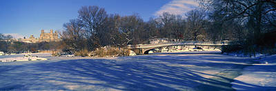 Panoramic View Of Bridge Over Frozen Poster by Panoramic Images