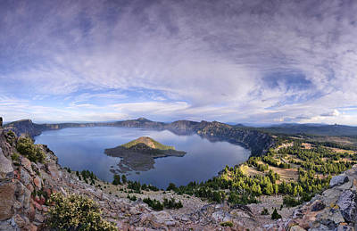 Poster featuring the photograph Panoramic View Of Crater Lake And Wizard Island by Sebastien Coursol