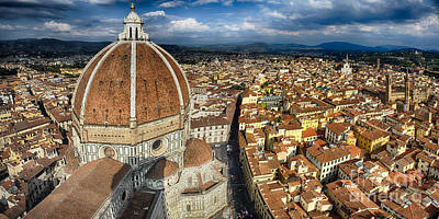 Panoramic View Of  Florence With The Duomo Poster by George Oze