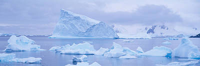 Panoramic View Of Glaciers And Icebergs Poster by Panoramic Images