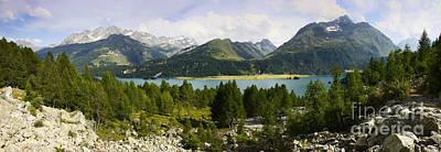 Panoramic View Of Sils Lake Poster