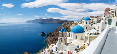 Panoramic View Of The Oia Village Poster