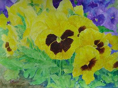 Pansies Colorful Flowers Floral Garden Art Painting Bright Yellow Pansy Original  Poster