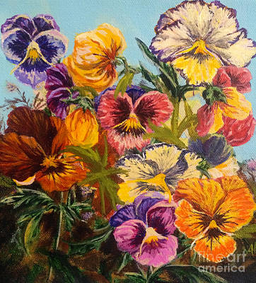 Poster featuring the painting Pansies by Gail Allen
