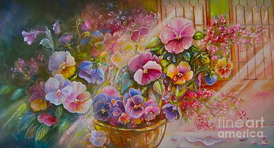 Pansies In Gold Poster by Patricia Schneider Mitchell