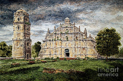 Poster featuring the painting Paoay Church by Joey Agbayani
