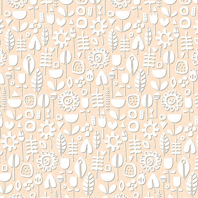 Paper Cut Flowers White Peach Poster