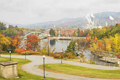 Paper Mill And Fall Colors In Rumford Maine Poster by Keith Webber Jr