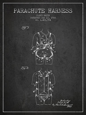 Parachute Harness Patent From 1922 - Charcoal Poster