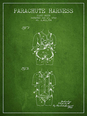 Parachute Harness Patent From 1922 - Green Poster