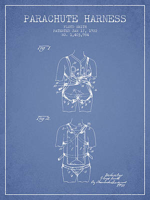 Parachute Harness Patent From 1922 - Light Blue Poster