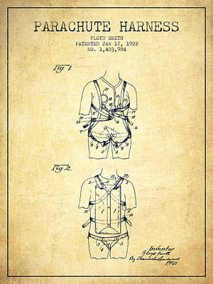 Parachute Harness Patent From 1922 - Vintage Poster