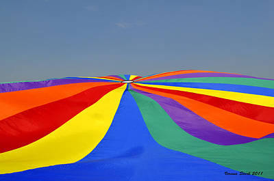 Poster featuring the photograph Parachute Of Many Colors by Verana Stark