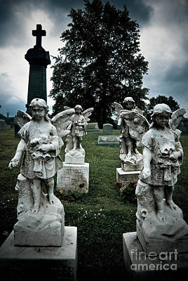 Parade Of Angels Statues At Cemetery Poster