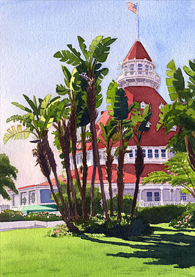Paradise At The Hotel Del Coronado Poster by Mary Helmreich
