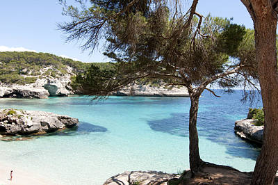 Paradise In Minorca Is Called Cala Mitjana Beach Where Sand Is Almost White And Sea Is A Deep Blue  Poster