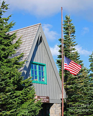 Paradise Ranger Station And Old Glory Poster by Connie Fox