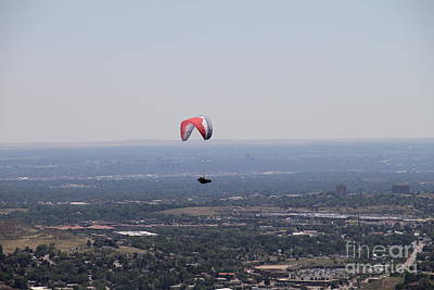 Poster featuring the photograph Paragliding Over Golden by Chris Thomas