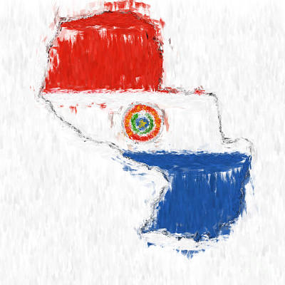 Paraguay Painted Flag Map Poster