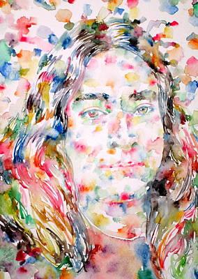 Paramahansa Yogananda Watercolor Portrait Poster by Fabrizio Cassetta