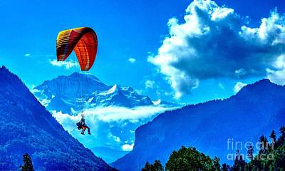 Poster featuring the photograph Parasailing Swiss Alps by Joe  Ng