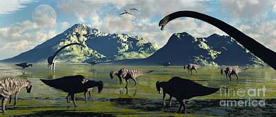 Parasaurolophus And Sauropod Dinosaurs Poster