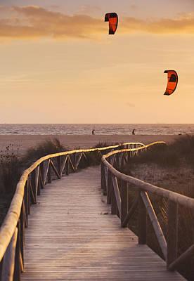 Parasurfing Tarifa, Costa De La Luz Poster by Ben Welsh
