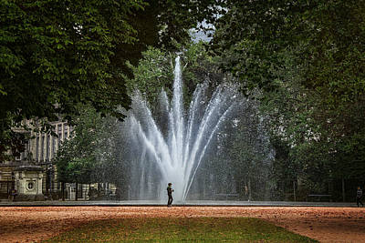 Parc De Bruxelles Fountain Poster by Joan Carroll