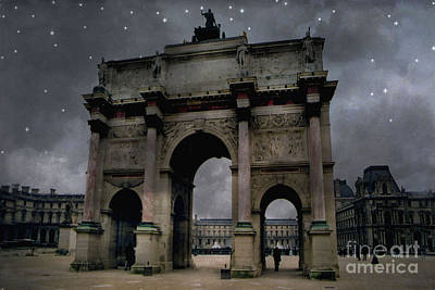 Paris Arc Du Carousel - Louvre Museum Arc De Triomphe - Starry Night Blue Paris Louvre Courtyard Poster by Kathy Fornal