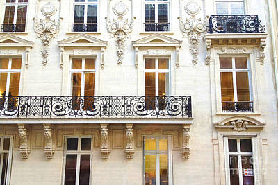 Paris Art Nouveau Winter White Lace Balconies Windows Door Architecture - Paris Window Art Poster by Kathy Fornal