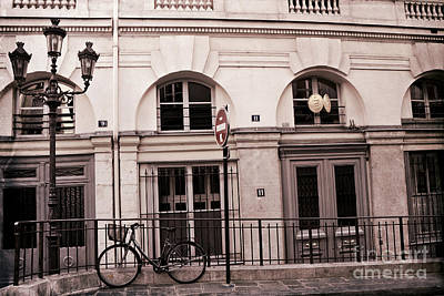 Paris Bicycle Street Lamps Architecture Buildings - Paris Bicycle Sepia Art Deco Modern Art Prints Poster by Kathy Fornal