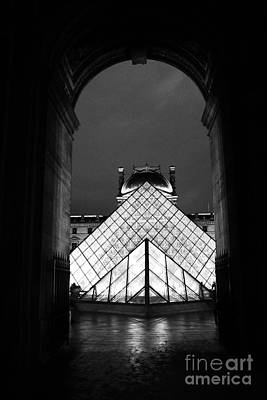 Paris Black And White Louvre Museum Art - Louvre Black And White Pyramid Night Lights And Arch Poster by Kathy Fornal