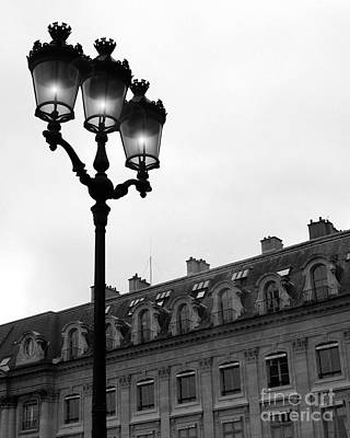 Paris Black And White Photograph - Place Vendome Lanterns Architecture Street Lamps Poster by Kathy Fornal