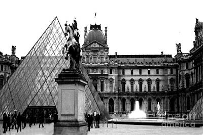 Paris Black And White Photography - Louvre Museum Pyramid Black White Architecture Landmark Poster by Kathy Fornal
