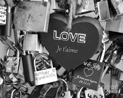 Paris Black And White Photography - Love Locks Padlocks - Locks Of Love  Poster