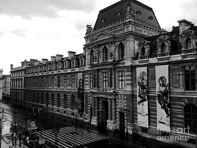 Paris Black And White Vintage Louvre Photography - Paris Louvre Museum Architecture  Poster by Kathy Fornal