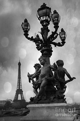 Paris Black And White Pont Alexandre Bridge - Paris Black And White Romantic Eiffel Tower Poster by Kathy Fornal