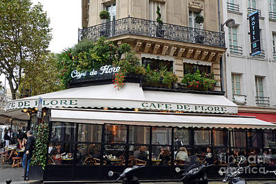 Paris Cafe De Flore - Paris Fine Art Cafe De Flore - Paris Famous Cafes And Street Cafe Scenes Poster by Kathy Fornal