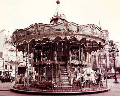 Paris Carousel Merry Go Round Hotel De Ville - Paris Carousel Horses Carnival Ride - Paris Carousels Poster by Kathy Fornal