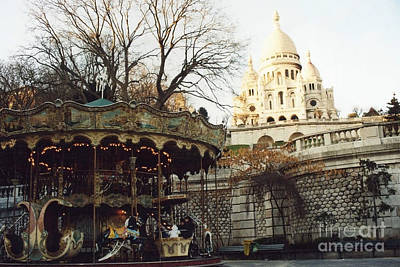 Paris Carousel Merry Go Round Montmartre - Carousel At Sacre Coeur Cathedral  Poster by Kathy Fornal